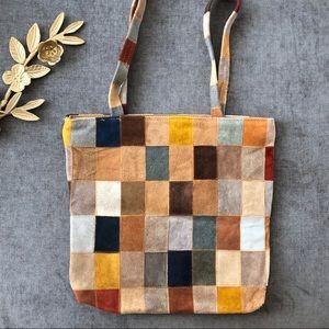 vintage 70s patchwork suede tote bag